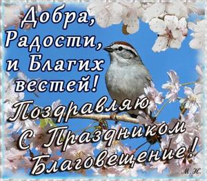 Открытка <b>Благовещение</b>.Птица в цветах яблони