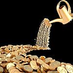 Картинка Из лейки проливается дождь золотых монет анимация