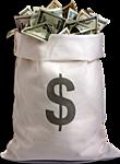 Картинка Мешок с деньгами (доллары) анимация