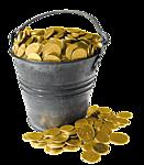 Гиф gif Ведро золотых монет. Часть просыпалась рисунок