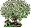 Дерево с листьями из долларов и маленький домик смайлики картинки