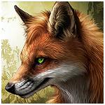 Картинка Рыжая лиса с зелеными глазами, художник под псевдонимом d... анимация