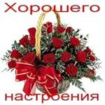 Хорошего настроения! Корзина с цветами и бантом