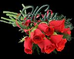 Надпись Жми. Букет красных роз