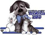 Картинка Спасибо! Зайчик, котя и щенок анимация