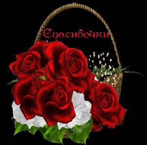 Картинка Спасибочки! Шикарный букет роз! анимация