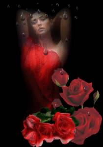 Гиф gif Девушка в красном платье под дождем рисунок