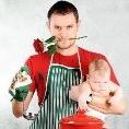 Смайлик Мужчина с розой в зубах и младенцем в руке аватар