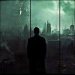 Гиф gif Мужчина смотрит на разрушенный город через окно рисунок