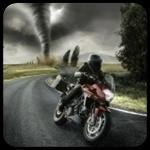 Смайлик Мужчина на мотоцикле пытается уехать от смерча аватар