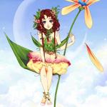 Смайлик Фея сидит на листочке аватар
