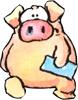 Гиф gif Свинка с конвертом рисунок