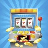 Из игрового автомата вылетают монеты выигрыша