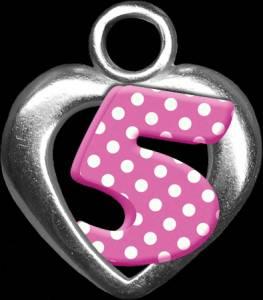 Картинка Цифры розовые в белый горошек в сердечке. 5 анимация