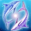 Смайлик Два дельфина прыгают, играют аватар