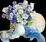 Гиф gif Бело-голубой букет рисунок