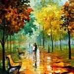 Смайлик Прогука влюблённых в парке осенней порой аватар