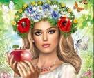 Красивая девушка с красным яблоком