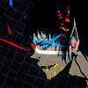 Гиф gif Парень в маске и с разноцветными глазами рисунок