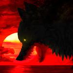Картинка Волк на фоне заката анимация