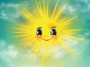 Картинка Солнышко играет лучиками на небе анимация