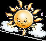 Солнышко катается на тучке смайлики картинки