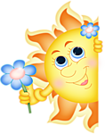 Солнышко дарит цветы смайлики картинки