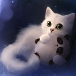 Смайлик Белый котёнок держит в лапах игрушечного панду, art by ap... аватар