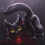 Смайлик Нарисованная черная кошка с шариком аватар