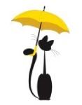 Смайлик Киска с желтым зонтиком аватар