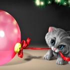 Картинка Котенок тащит шарик анимация
