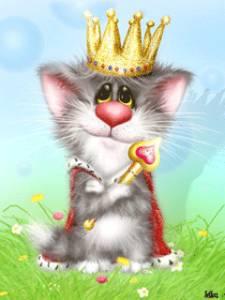 Гиф gif Кошачий царь рисунок