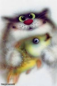 Смайлик Котик с рыбкой аватар