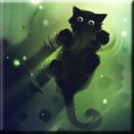 Картинка Котёнок ходит по воде в свете зелёного сияния анимация