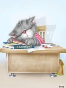 Картинка Серенький котя на книжках уснул анимация