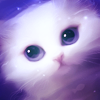 Картинка Красивый белый котик анимация