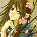 Смайлик Эльфийка с цветками сакуры аватар