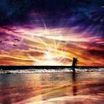 Гиф gif Закат на море яркий рисунок