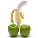 Картинка Банан и два яблока анимация