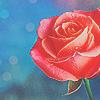 Смайлик Красная роза на голубом фоне с бликами аватар