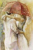 Смайлик Поцелуй под зонтом аватар