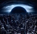 Смайлик Луна поднимается над умершим городом аватар