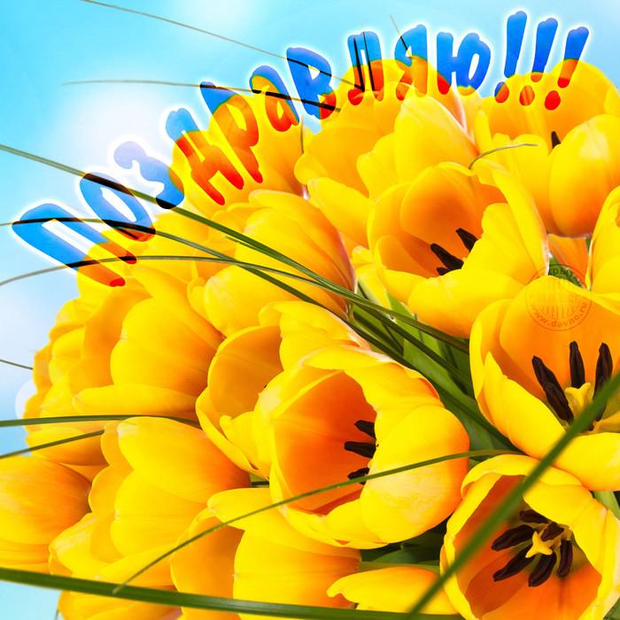 Поздравляю! Букет желтых тюльпанов картинка смайлик