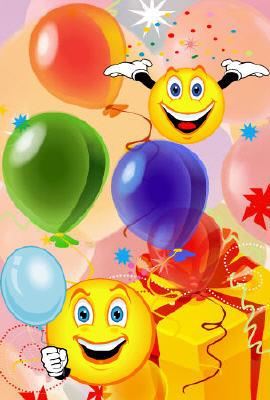 Поздравляю! Смайлики с подарками и шарами! смайлики картинки