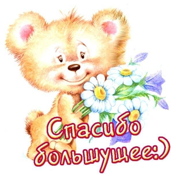 Спасибо большущее! Медведь с букетом смайлики картинки