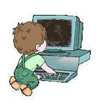 Картинка Малышок с компьютером анимация