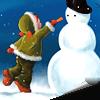 Гиф gif Девочка лепит снеговика рисунок
