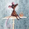 Смайлик Мышка с корзиной сидит на грибе аватар