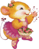 Мышка с корзиной цветов
