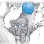 Гиф gif Мишки и синий шарик рисунок